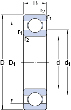 Подшипники шариковые радиальные однорядные 6208 ETN9