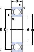Подшипники шариковые радиальные однорядные 6216-2Z