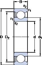 Подшипники шариковые радиальные однорядные 6210-RZ