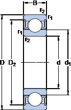 Подшипники шариковые радиальные однорядные 6210-2RZ
