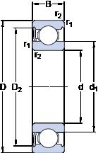 Подшипники шариковые радиальные однорядные 6213-RS1