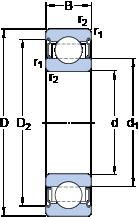 Однорядные радиальные шарикоподшипники для высоких температур 6210-2Z/VA208