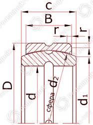 Подшипник шарнирный с отверстиями и канавками для смазки на внутреннем и наружном кольцах с одноразломным наружным кольцом ШСП5К